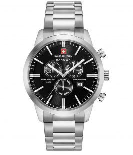 SWISS MILITARY HANOWA Classic Chronograph Silver Stainless Steel Bracelet 06-5308.04.007