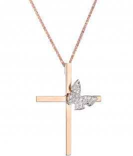 βαπτιστικός σταυρός Ροζ Πεταλουδα 18Κ