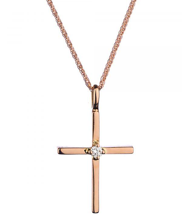 βαπτιστικός σταυρός Ροζ 18Κ