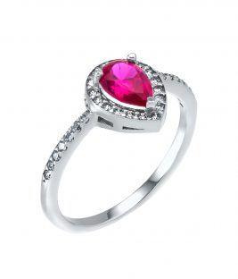 Δαχτυλίδι ροζέτα δάκρυ ρουμπίνι