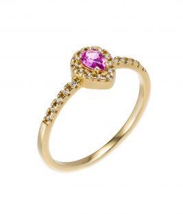 Δαχτυλίδι ροζέτα με ροζ τουρμαλίνη