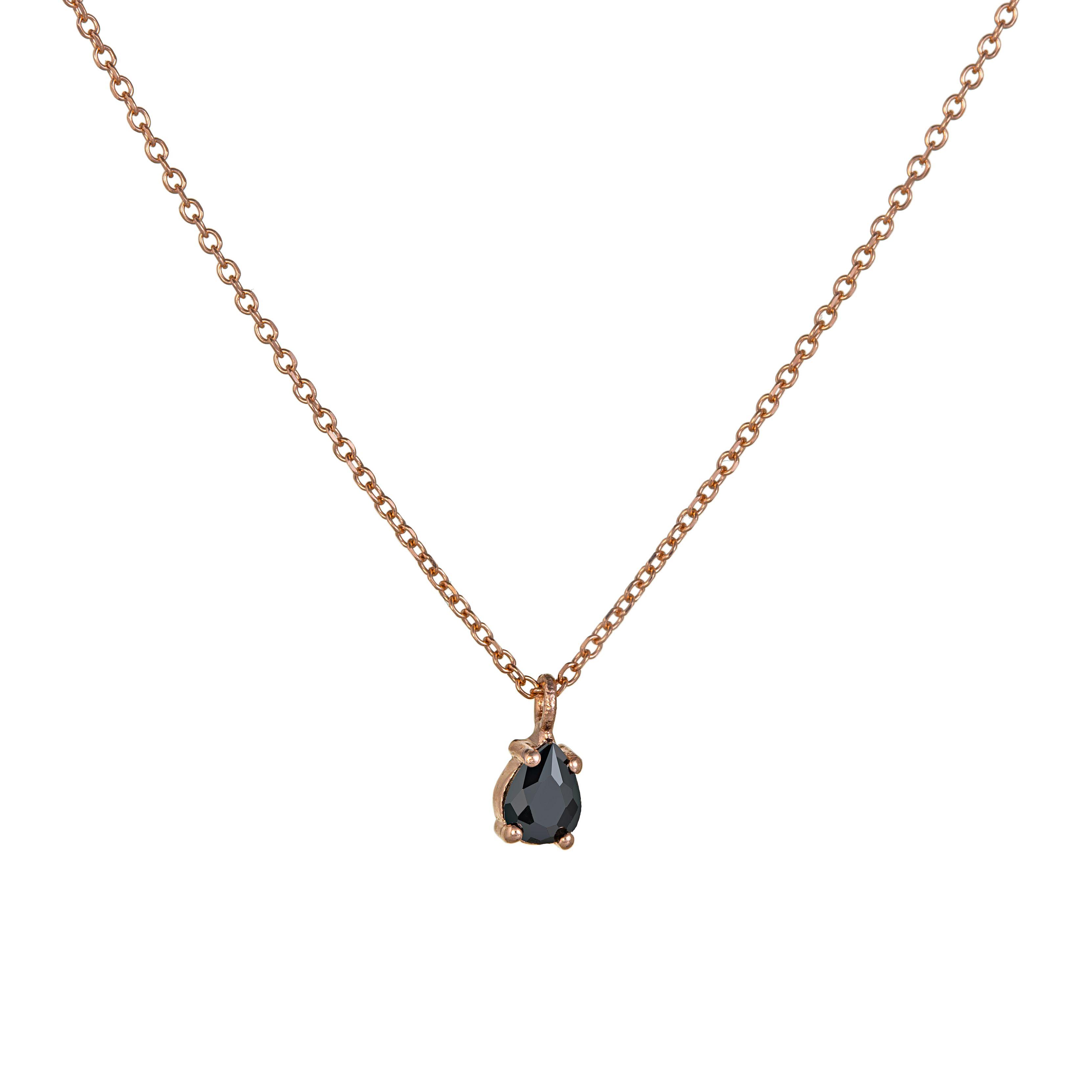 Κολιέ μονοπετράκι ροζ με μαύρη πέτρα - Seferos d13073e44d4