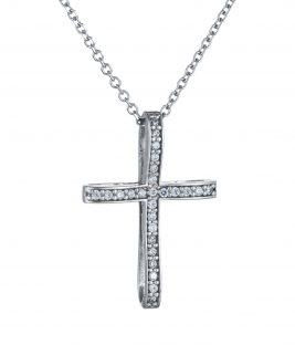 βαπτιστικός σταυρός λευκόχρυσος με πέτρες