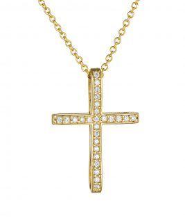 Βαπτιστικός σταυρός χρυσός με πέτρες