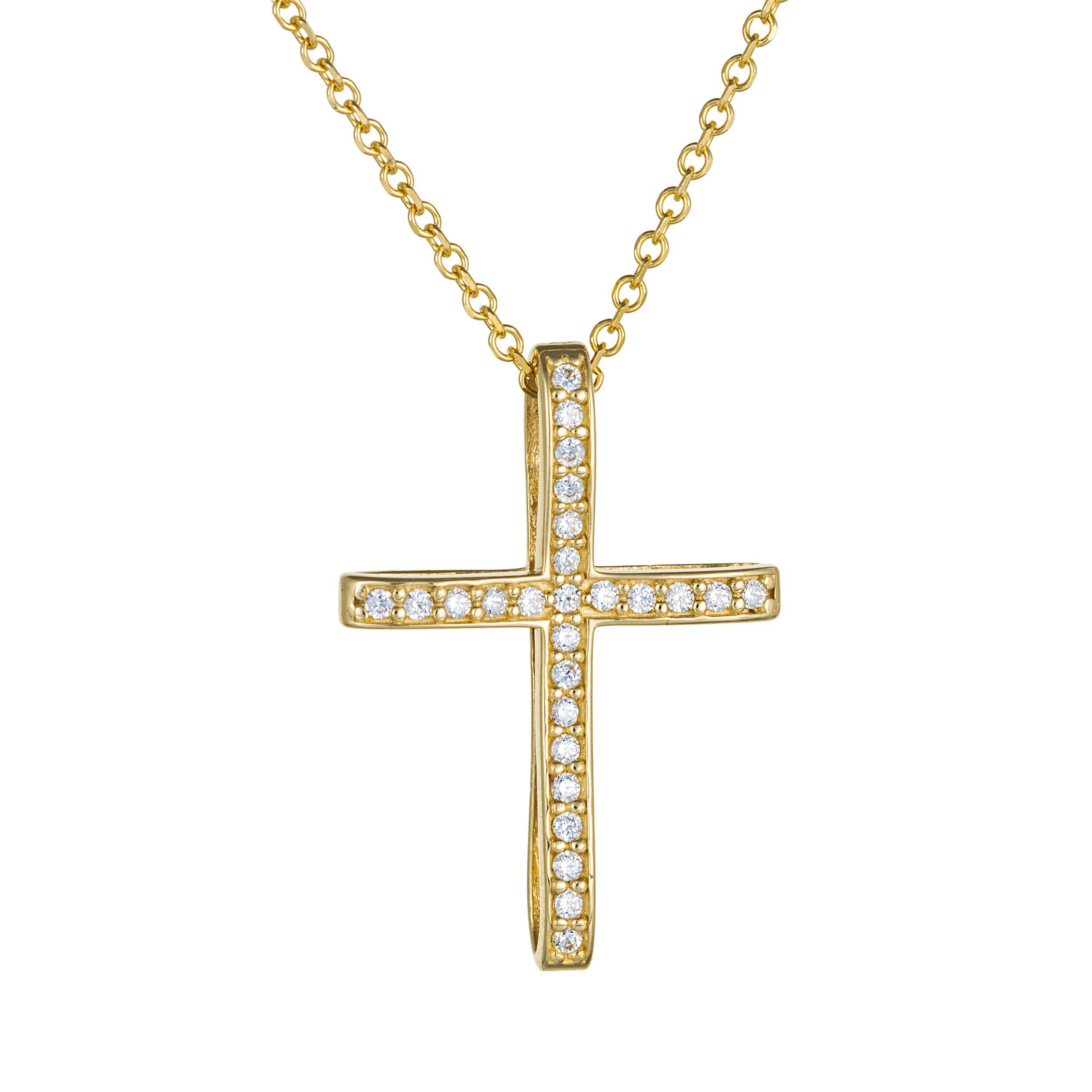 Βαπτιστικός σταυρός χρυσός με πέτρες - Seferos c9eb0768722