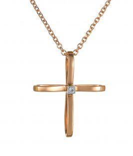 Βαπτιστικός σταυρός σε ροζ χρυσό