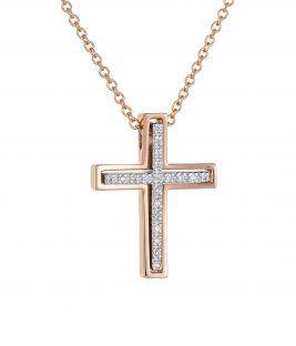 Βαπτιστικός σταυρός ροζ χρυσός διπλός με αποσπώμενο κομμάτι