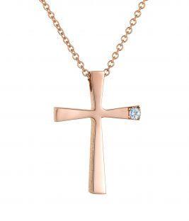 Βαπτιστικός σταυρός ροζ Τριάντος για κορίτσι