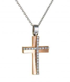 Βαπτιστικός σταυρός ροζ χρυσός με πέτρες