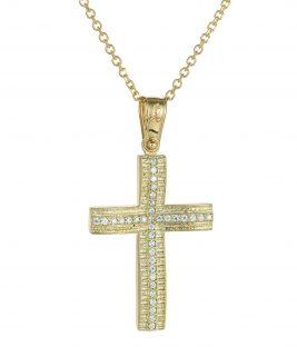 Βαπτιστικός σταυρός χρυσός ματ με πέτρες