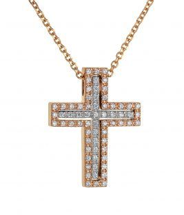 Βαπτιστικός σταυρός ροζ χρυσός