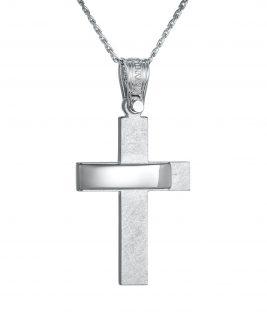 Βαπτιστικός σταυρός Τριάντος λευκόχρυσος