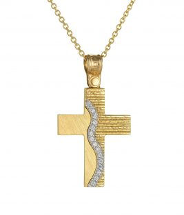 Βαπτιστικος σταυρος χρυσος για κοριτσι διπλης οψης