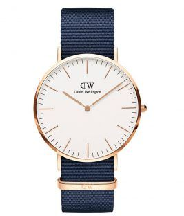 Daniel Wellington Classic Bayswater Rose Gold Blue Fabric Strap DW00100275