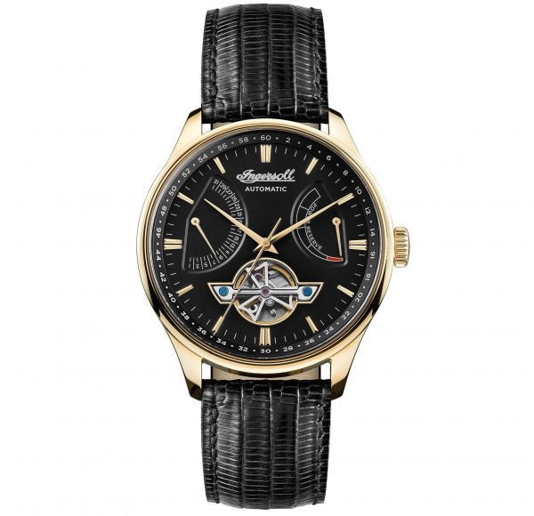 INGERSOLL Hawley Automatic Gold Black Leather Strap I04606