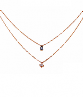Κολιέ διπλή αλυσίδα με μονόπετρα ροζ χρυσό
