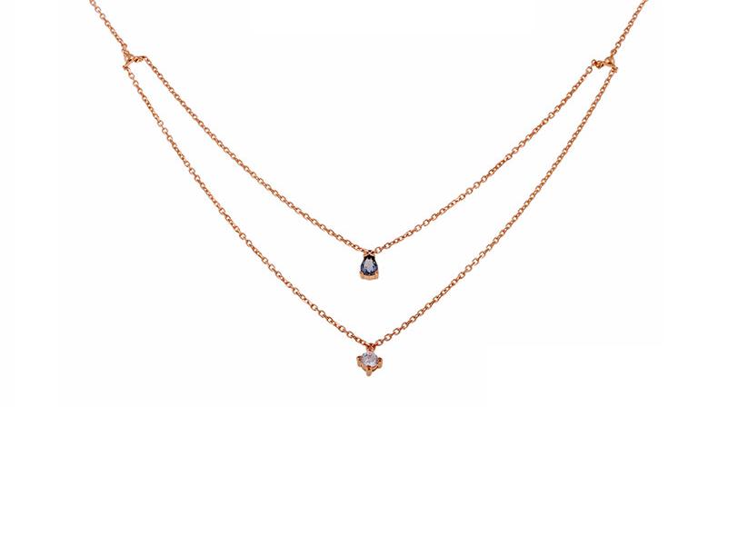 346de12663 Κολιέ διπλή αλυσίδα με μονόπετρα ροζ χρυσό - Seferos