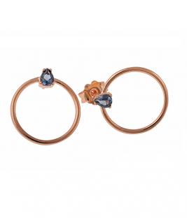 Σκουλαρίκια κύκλοι ροζ με πέτρα